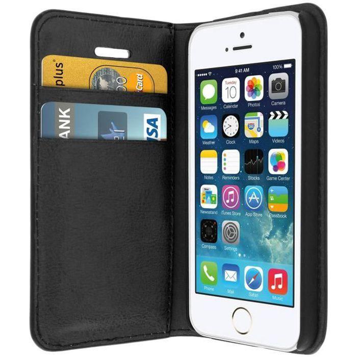 housse etui folio cuir apple iphone 5 5s noir