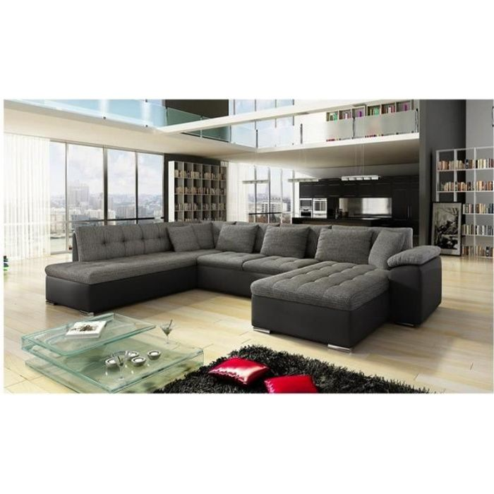 canap angle u alta 4 gris fonc angle droit achat vente canap sofa divan cdiscount. Black Bedroom Furniture Sets. Home Design Ideas