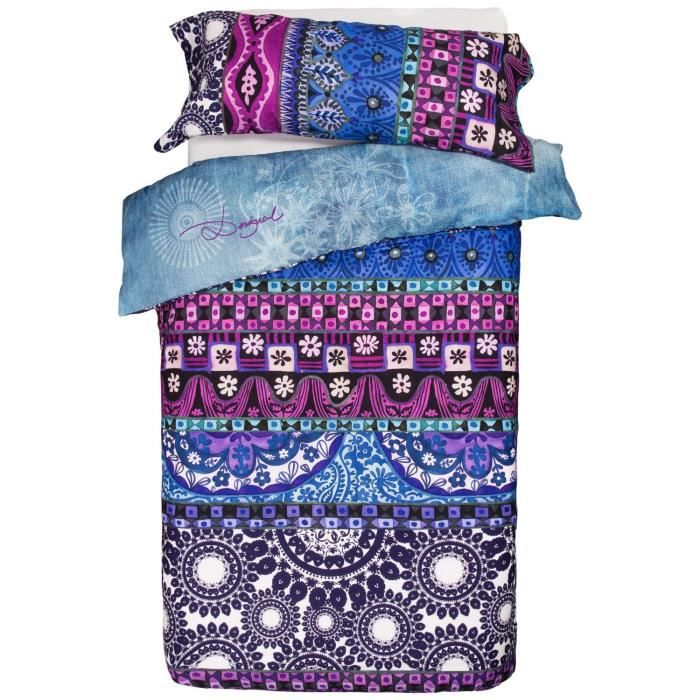 desigual housse de couette denim folk 160x220 achat vente housse de couette cdiscount. Black Bedroom Furniture Sets. Home Design Ideas