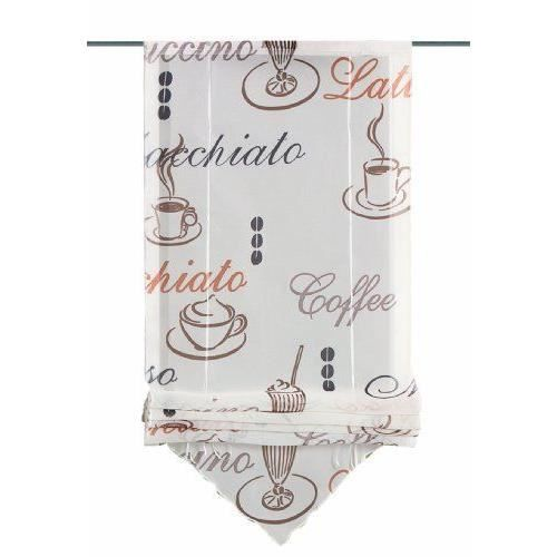 Home fashion 57132 802 store en voile imprim design caf cr me 140 x 80 cm achat vente - Store imprime photo ...