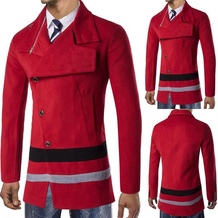 Long Smart Trench Chaude Outwear Veste Button Pardessus Rouge D'hiver qZfvpt