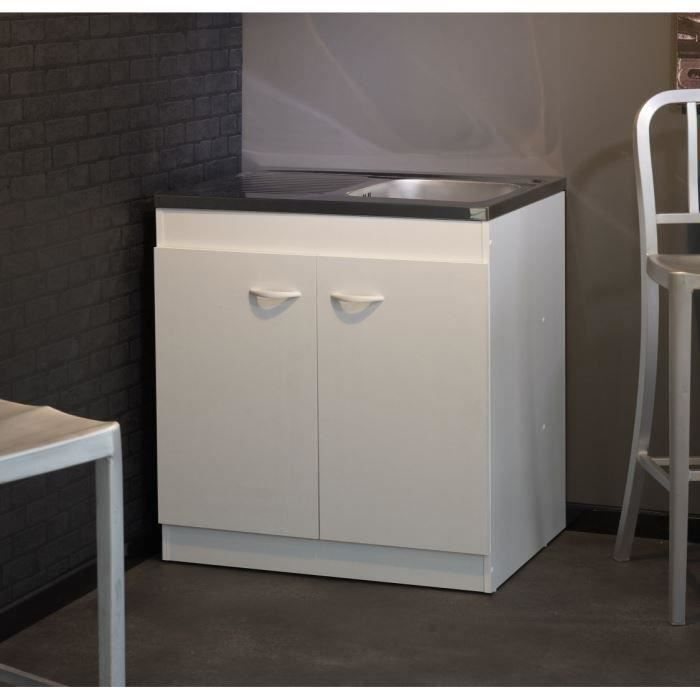 meuble sous vier cosmos blanc l80 cm achat vente elements bas sous vier cosmos l80 cm. Black Bedroom Furniture Sets. Home Design Ideas