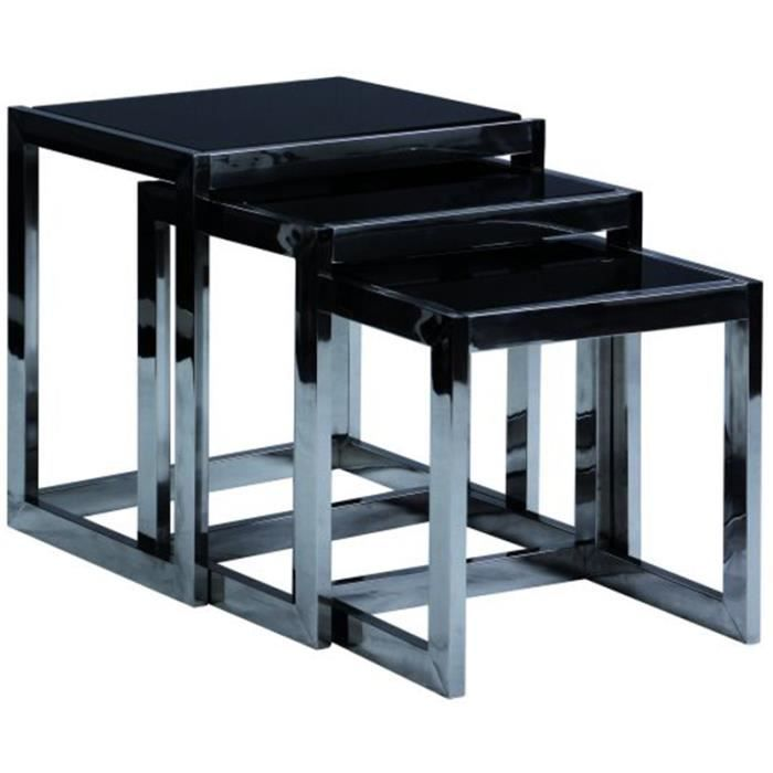 lot de 3 tables gigogne pi tement inox verre t achat. Black Bedroom Furniture Sets. Home Design Ideas