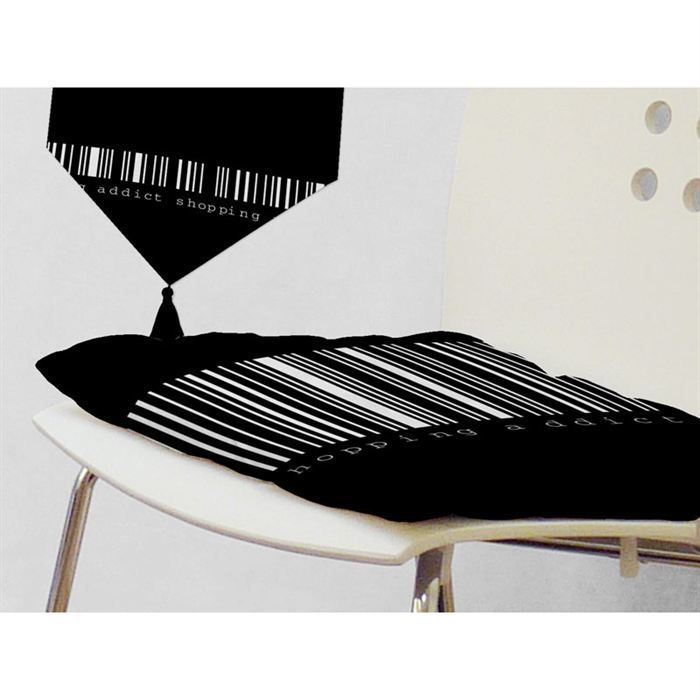 galette de chaise shopping addict noir achat vente. Black Bedroom Furniture Sets. Home Design Ideas