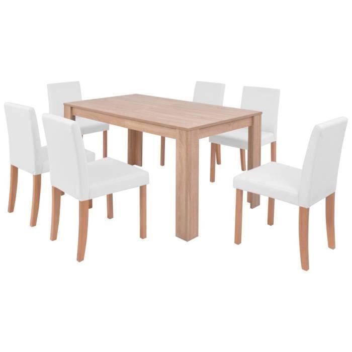 TABLE DE CUISINE  vidaXL Table et chaises 7 pcs Cuir synthétique Chê