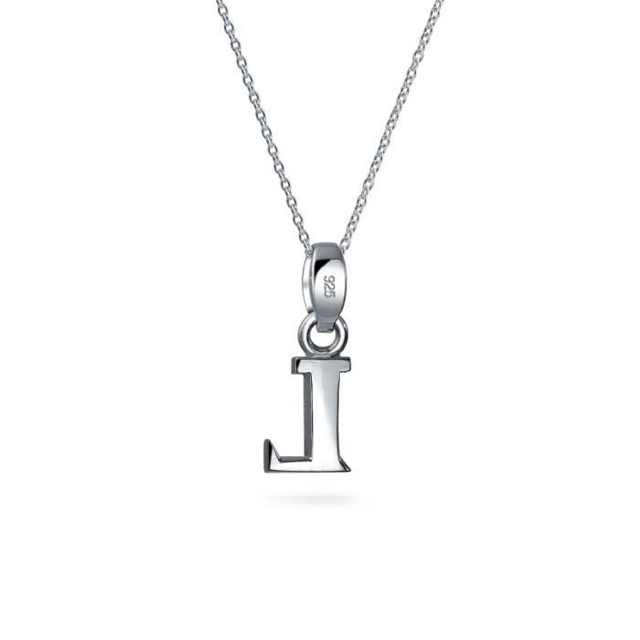 Brink Block Lettre LArgent Sterling Pendentif initiale 18in