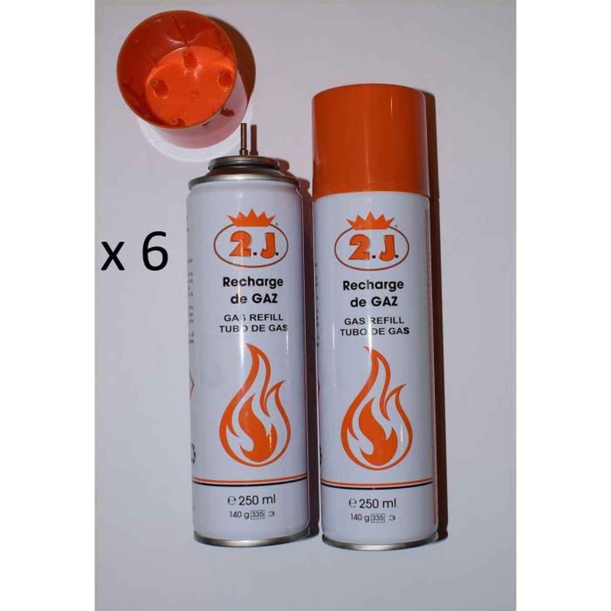 2J Lot de 6 recharges de gaz pour Briquet Allume gaz.