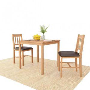 TABLE À MANGER COMPLÈTE Ensemble Table carrée + 2 chaises en bois de chêne