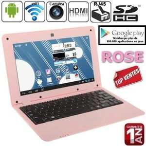 ORDINATEUR ENFANT Netbook Rose Android 4 HDMI écr.10.1 (Wifi-SDHC)