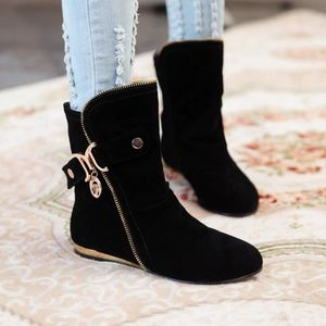 bottes martin-Pure Color talon plat Tassel Lain...