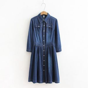 ROBE Robe Femmes Grande Taille Jeans Button Désign Tour