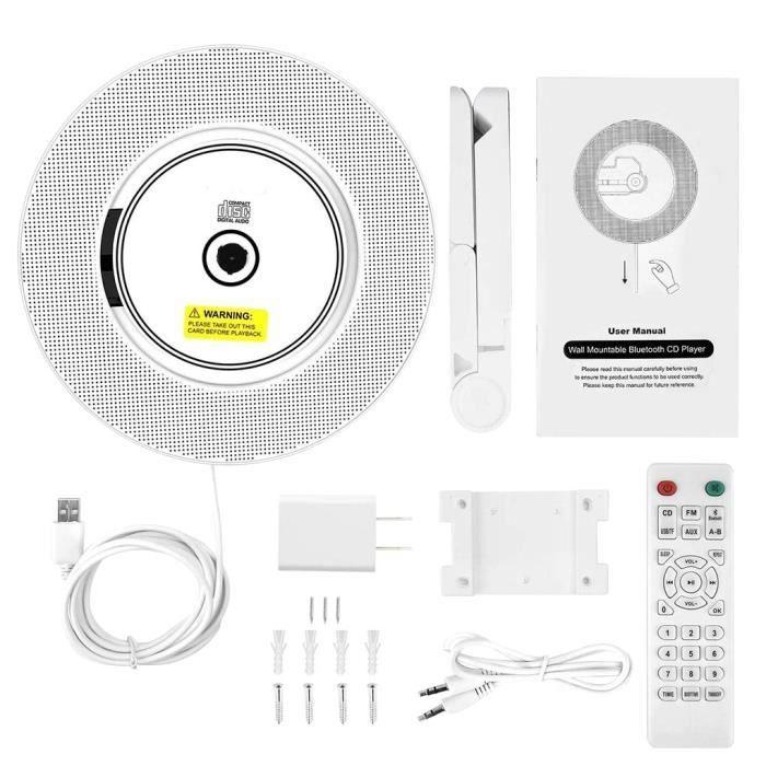 Lecteur CD enfant,Support mural-bureau lecteur CD Bluetooth Home Audio Boombox avec télécommande Radio Portable haut - Type WHITE #A