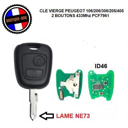 Clé Vierge Lame NE73 + Électronique Transpondeur ID46 PCF7961 433 Mhz Pour Peugeot 106/206/306/205/405 - Cle 2 Boutons