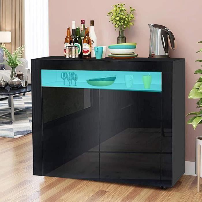 Dripex Buffet bas contemporain noir laqué brillant - L 108 cm - 2 portes