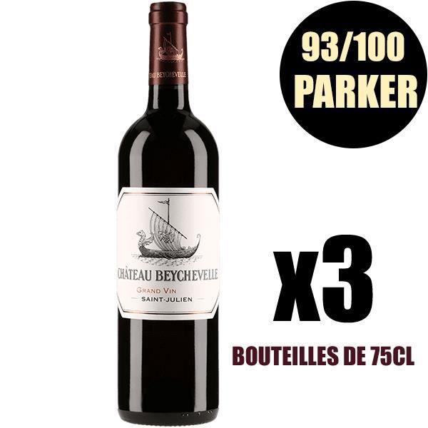 X3 Château Beychevelle 2015 75 cl AOC Saint-Julien Rouge 4ème Cru Classé Vin Rouge
