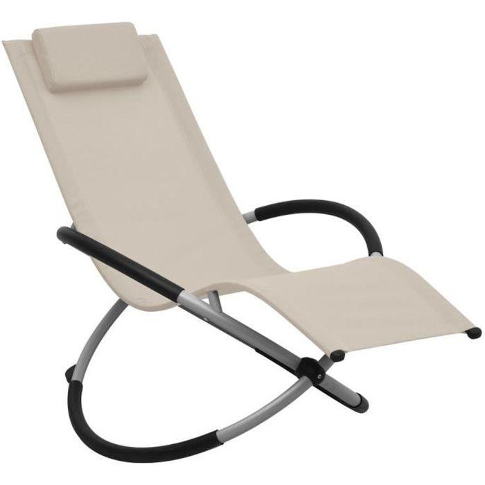 Chaise longue Transat DE jardin Fauteuil Relax Bains de soleil pour Jardin Balcon Camping terrasse pour enfants Acier Crème