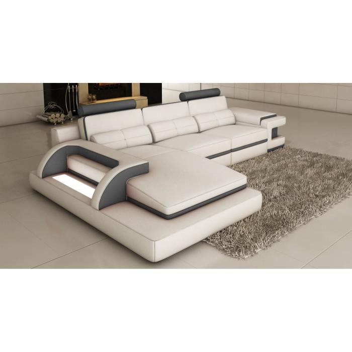 RANNA - Canapé d'angle cuir blanc et gris avec lumière intégrée