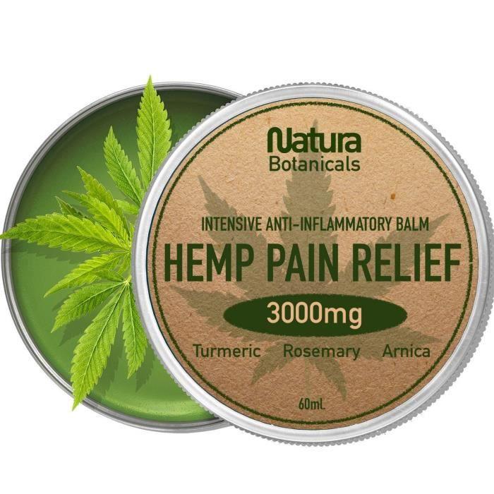 Baume anti-douleur au chanvre - Soulage naturellement les douleurs articulaires et musculaires 3000 mg. Extraits de chanvre, de r