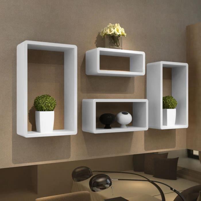 Rainbowin® Etagères Design Murale 4 Cubes blanc