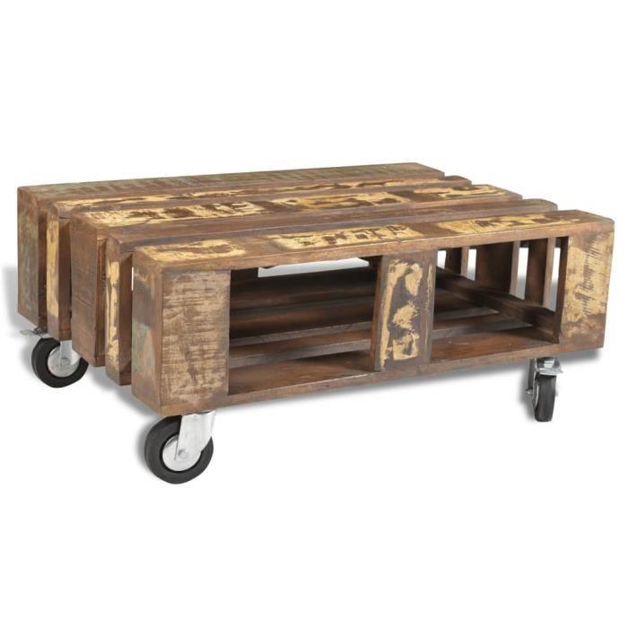 Table basse avec 4 roulettes Bois recyclé -HB065
