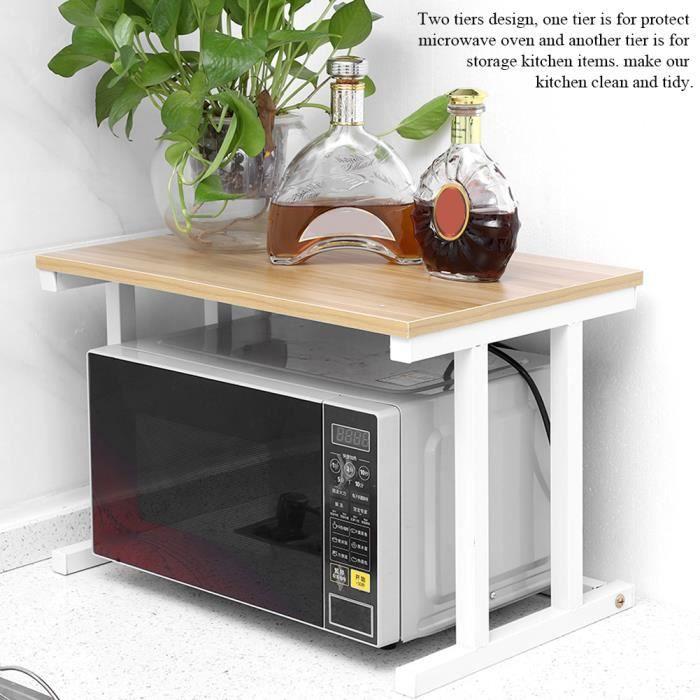 étagère Support de four à micro-ondes 57 *38 *38cm de rangement pour armoire de cuisine de comptoir à 2 couches - blanc HB014 -OLL