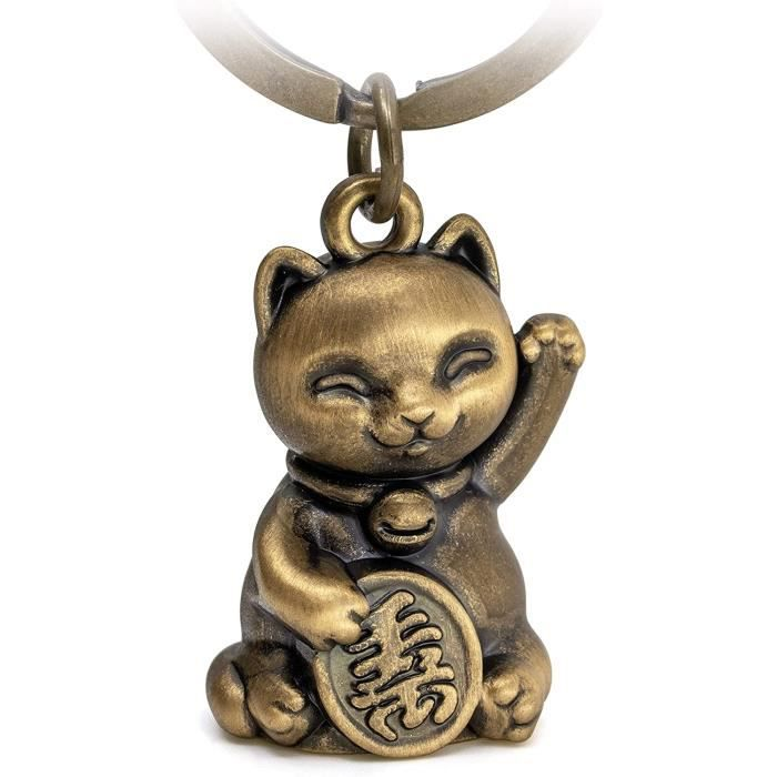 Porte c s Maneki Neko Chat porte bonheur En mta Cadeau Bronze Marron FBMANEKINEKOB[123]