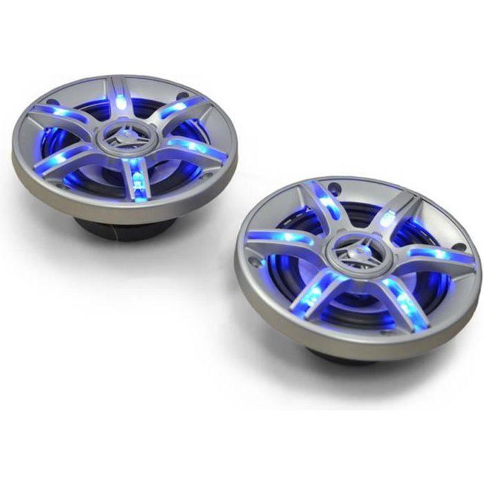 auna CS-LED5 Haut Parleurs de voiture coaxiaux 3 voies (13cm 5 pouces, 91 Décibels, câbles inclus) - Eclairage bleu LED