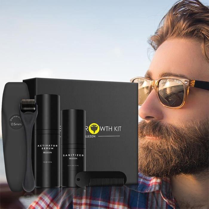 Kit de croissance de barbe Kit d'outils de croissance de barbe Set sérum activateur de barbe et désinfectant