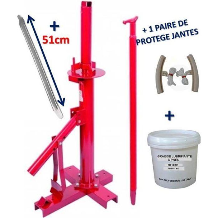 Démonte Pneu 13- à 21- manuel Auto - utilitaires - quad - 4x4 + 2 Protections Jante + Graisse Pneu 1kg + 1 Barre de Levier