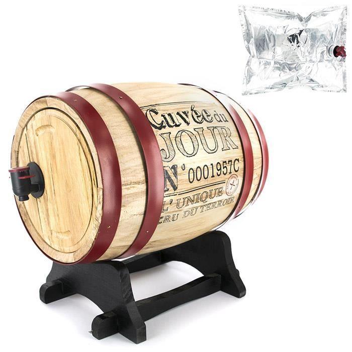 Tonneau à Vin - Distributeur de Vin - 3 Litres - Cerclage Bordeaux - Poche en Aluminium incluse