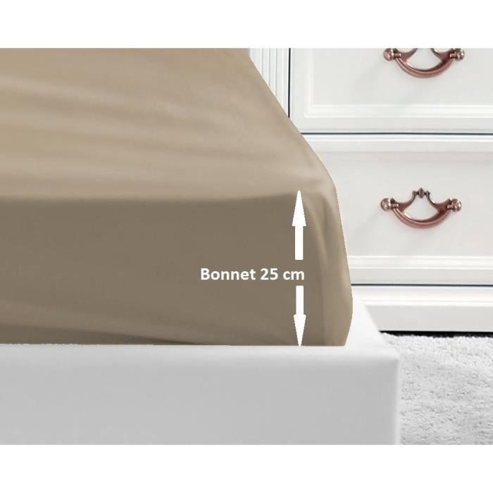 LOVELY HOME Drap Housse 100% coton 140x190x25 cm beige