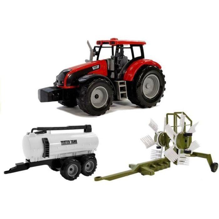 FARMER'S TALE Tracteur avec râteau faneur et citerne jouet Rouge