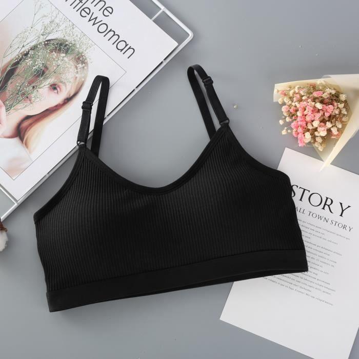 Soutien-gorge de gilet de sport sans anneau pour femmes Soutien-gorge Sexy Brassiere Sous-vêtements de ventilation en coton Noir
