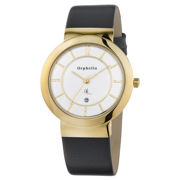 Orphelia - OR22670514 - Montre Homme - Quartz Analogique - Cadran Blanc - Bracelet Cuir Noir