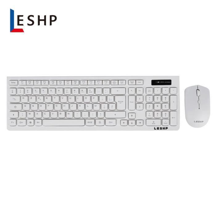 Kit de clavier sans fil et souris optique 2,4 GHz pour PC portable - clavier AZERTY - blanc