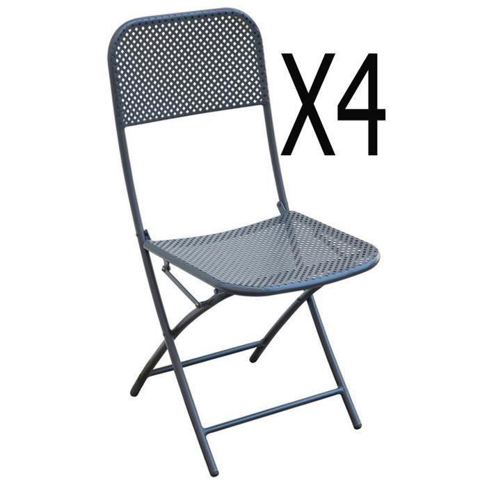 Lot de 4 chaises de jardin coloris gris anthracite - Dim : 40 x 57 x 89 cm - A USAGE PROFESSIONNEL.