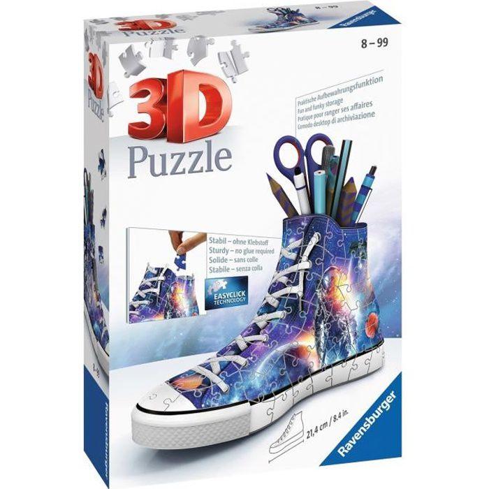 Puzzle 3D Sneaker - Les astronautes - Ravensburger - Puzzle 3D enfant - sans colle - Pot à crayons 108 pièces - Dès 8 ans