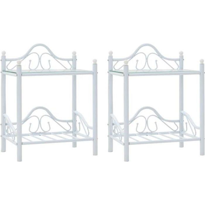 vidaXL Table de chevet 2 pcs Acier et verre trempé 45x30,5x60 cm Blanc