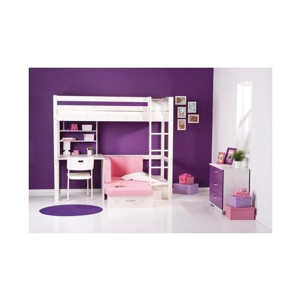 lit haut avec chelle droit 90 x 200cm lattes non incluses achat vente structure de lit. Black Bedroom Furniture Sets. Home Design Ideas