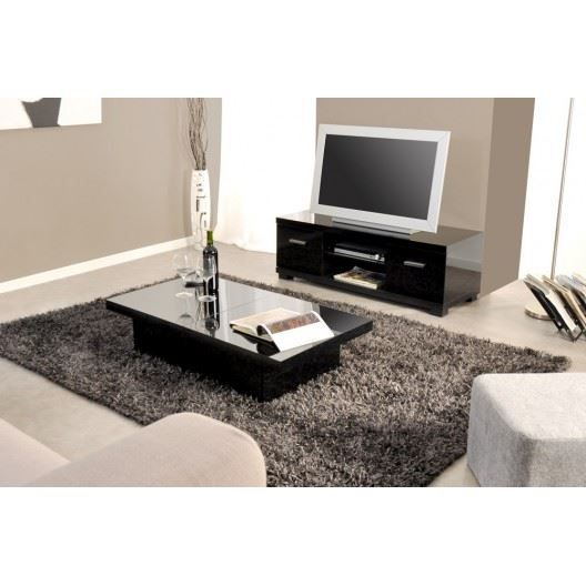 ensemble meuble tv et table basse tremelo noir achat. Black Bedroom Furniture Sets. Home Design Ideas