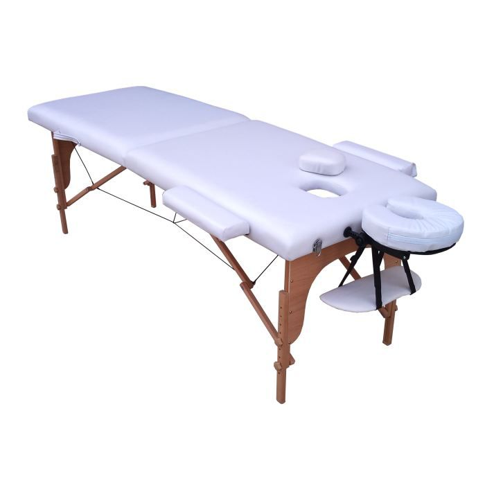 m4w table de massage blanche pliante portable bois achat vente table de massage m4w table de. Black Bedroom Furniture Sets. Home Design Ideas