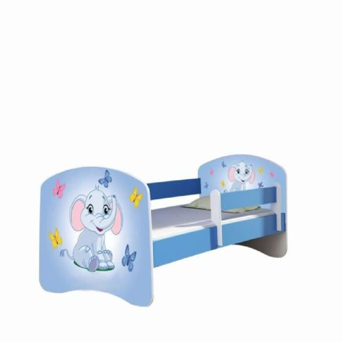 lit enfant l phant bleu sommier et matelas 140x70 cm. Black Bedroom Furniture Sets. Home Design Ideas