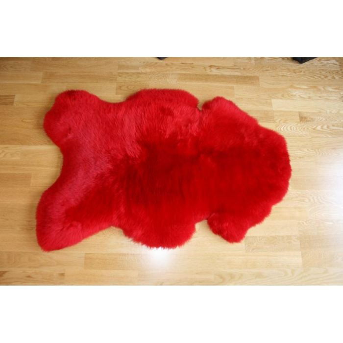 peau de mouton teint e rouge achat vente tapis cdiscount. Black Bedroom Furniture Sets. Home Design Ideas