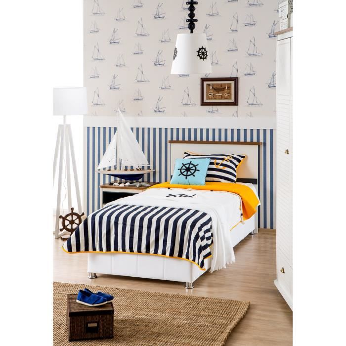 lit coffre coloris blanc et bleu 90x200 cm achat vente. Black Bedroom Furniture Sets. Home Design Ideas