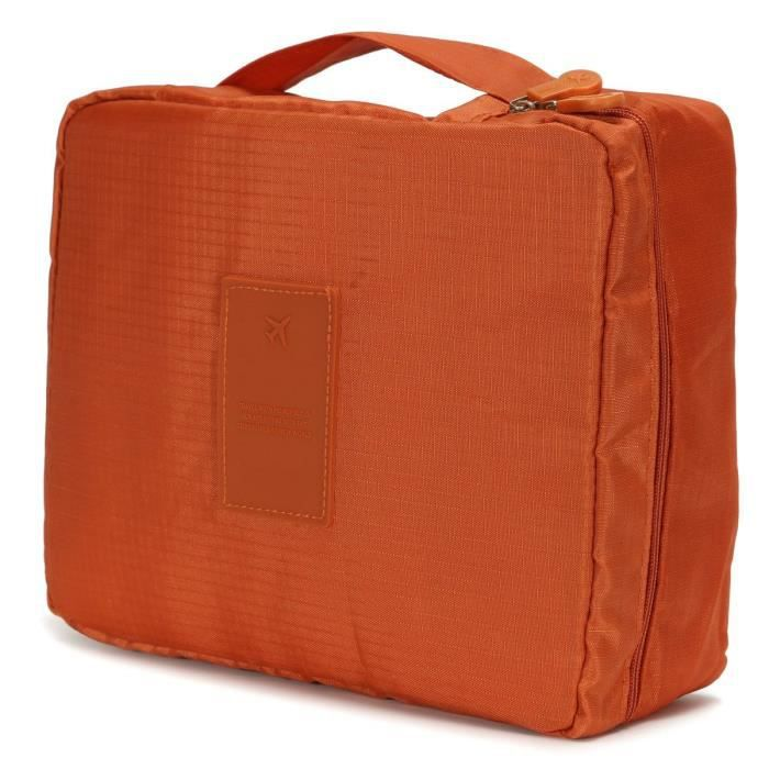 neufu 2 x pochette sac rangement main toilette organisateur trousse voyage maquillage orange. Black Bedroom Furniture Sets. Home Design Ideas