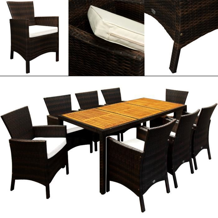salon de jardin 17pcs en polyrotin dessus de table en. Black Bedroom Furniture Sets. Home Design Ideas