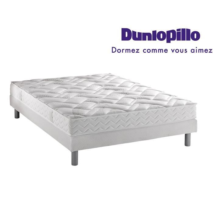 ensemble dunlopillo matelas 100 latex classic sommier pieds 140x190 achat vente. Black Bedroom Furniture Sets. Home Design Ideas