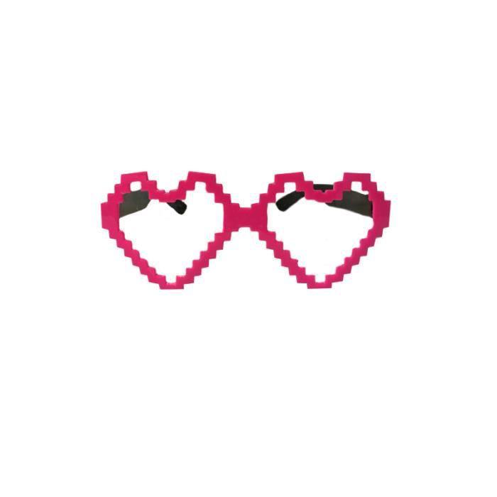 Lunettes Coeur Pixels Rose