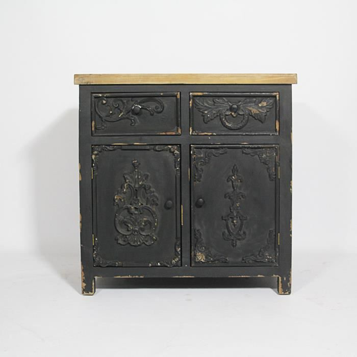petit buffet en bois patine bastille noir achat. Black Bedroom Furniture Sets. Home Design Ideas