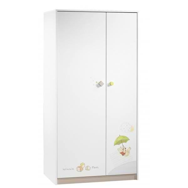 winnie l 39 ourson armoire 2 portes gris noisette blanc vert. Black Bedroom Furniture Sets. Home Design Ideas